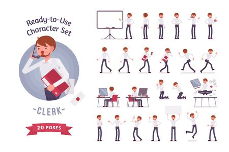Klaar om te gebruiken zaken mannelijke clerk karakter set, verschillende poses en emoties Stock Illustratie