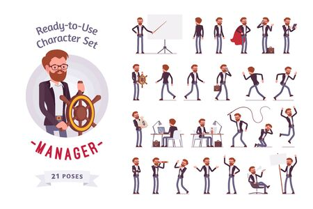 Ready-to-use male manager character set, different poses and emotions Vectores