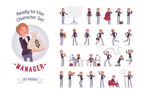 Prêt à utiliser le jeu de caractères gestionnaire féminin, différentes poses et émotions Banque d'images - 71599656