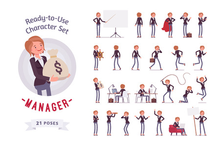 Ready-to-use female manager character set, different poses and emotions