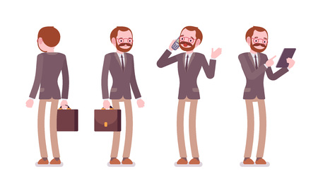 innovator: Set of male professional teacher in formal wear with bag, standing poses, talking on phone, holding tablet, before lesson, full length, front and rear view, isolated against white background