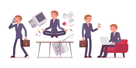 office scene: Office scene with busy and relaxed in yoga young businessman Illustration