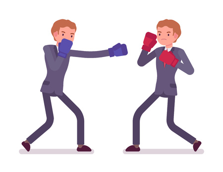 knocking: Two young businessmen boxing