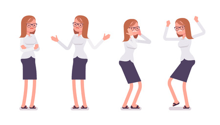 overload: Set of young unhappy female clerk in formal wear, showing negative emotions, puzzled worker, troubled with deadline, crossed hands, stamping feet, full length, isolated against white background Illustration