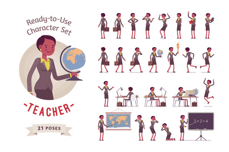 Ready-to-use female teacher character set, different poses and emotions Vettoriali