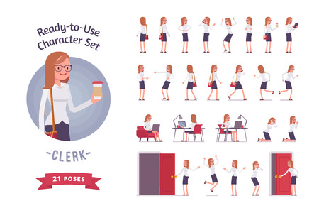 Ready-to-use young female clerk character set, different poses and emotions Stock Illustratie
