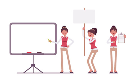 Set of young female office worker with frames for copyspace Illustration