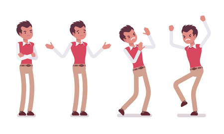 Set of unhappy young male typical office worker in a business smart casual wear, showing negative emotions, puzzled with task, crossed hands, stamping feet, full length, isolated, white background