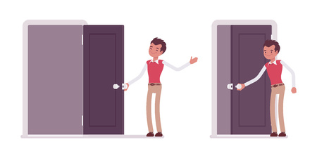 Set of happy young male typical office worker in a business smart casual wear opening and closing door, welcoming clients, inviting to enter the office, full length, isolated against white background