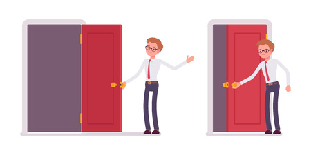 Set of young male clerk opening and closing the door Illustration