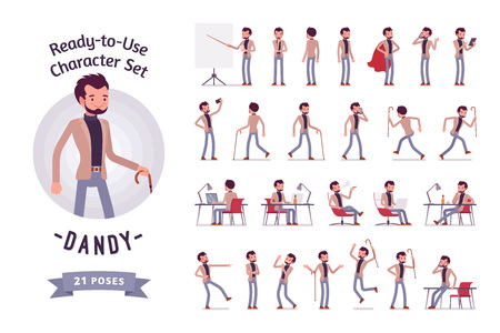 Ready-to-use young dandy character set, different poses and emotions