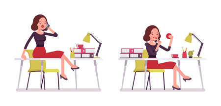 Set of young silly secretary at the desk, office scene, doing make-up, not working, gossiping on phone sitting on the desk, having a break, attending telephone calls, full length, white background