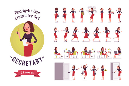 Ready-to-use young female secretary character set, different poses and emotions