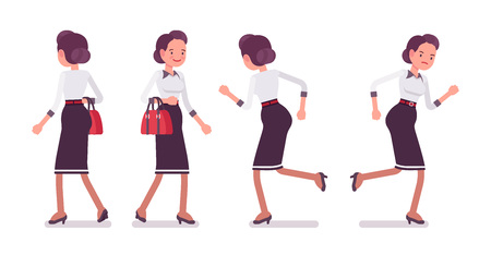 Set of young attractive secretary running, rear, front view