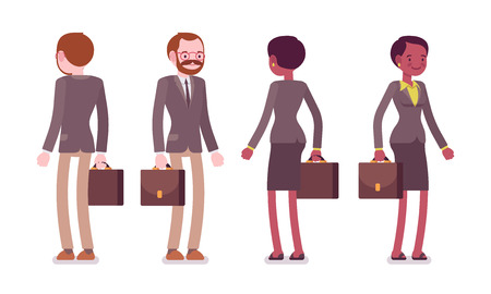 남성과 여성 교사 서, 후면, 전면보기 집합