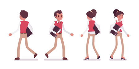 Set of male and female office worker walking, rear, front