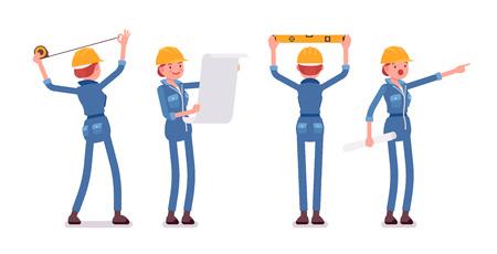 Satz von weiblichen Arbeiter tun Messung und Planung Standard-Bild - 74640420