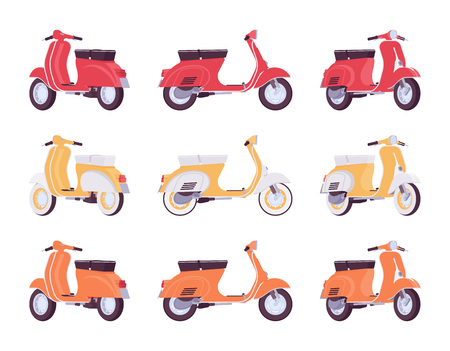 Set of scooters in red, orange, yellow colors