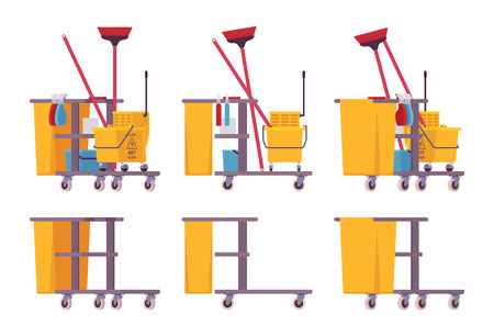 Full and empty janitor cart Ilustrace