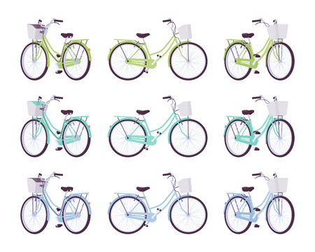 Set of female bicycles with basket in green, turquoise, blue colors Illustration