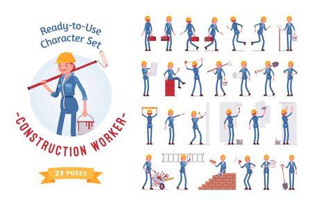 Připravená k použití mladá dívčí dělnická sada znaků, různé pózy a emoce Ilustrace