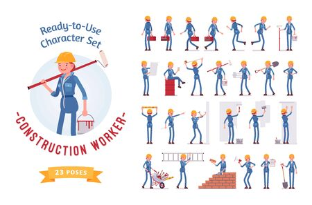 Ready-to-use young female worker character set, various poses and emotions Ilustrace