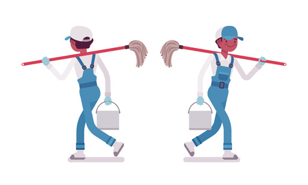 Male janitor walking, rear and front view