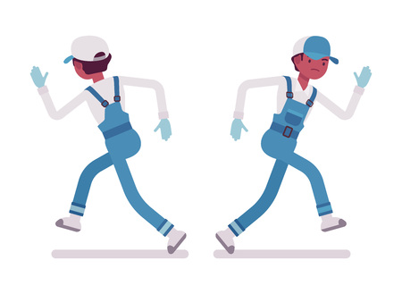 overload: Male janitor running, rear and front view Illustration