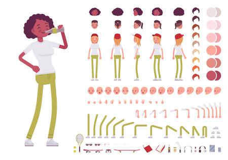 Tiener meisje karakter creatie set Stock Illustratie