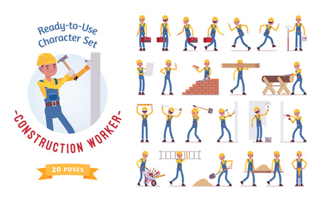 Ready-to-use young male worker character set, various poses and emotions