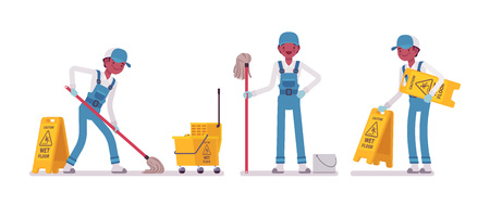 床を拭く男性用務員  イラスト・ベクター素材