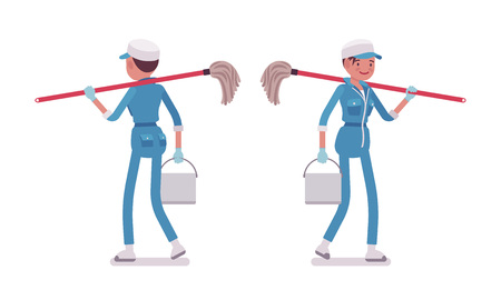 Female janitor walking, rear and front view