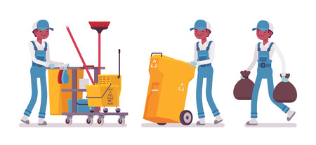 Male janitor cleaning, taking out the trash Illustration