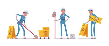 床を拭く女性用務員  イラスト・ベクター素材