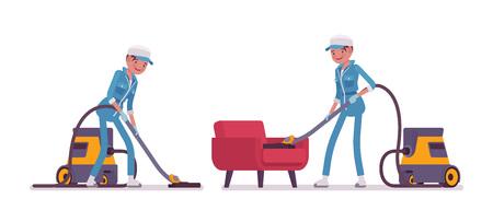 Female janitor vacuum cleaning indoors Illustration