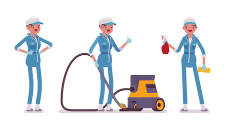 Female janitor standing with vacuum cleaner