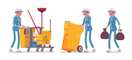 Female janitor cleaning, taking out the trash