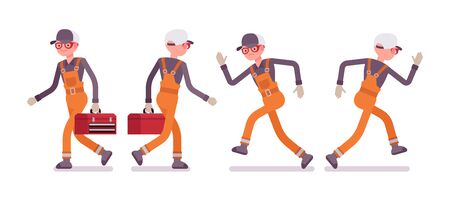 Set of male worker in orange wear, walking, running, rear and front view Illustration