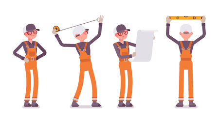 Set of male worker in orange overall doing measurement and planning Illustration