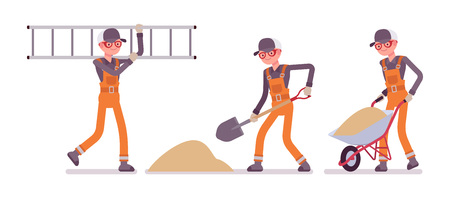 Set of male worker in orange overall working with sand