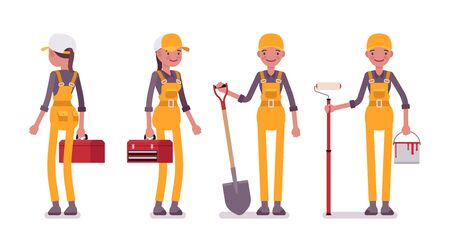 Female professional busy worker in bright yellow overall Illustration