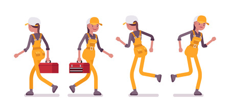 overall: Set of female worker in yellow wear, walking, running, rear and front view