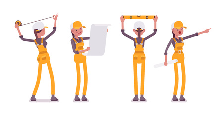 Set of female worker in yellow overall doing measurement and planning