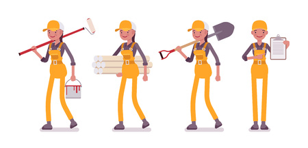 Set of female worker in yellow overall with different tools Vectores