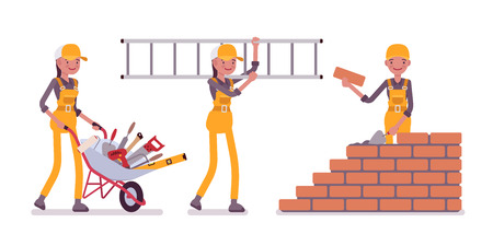 Set of female construction worker in yellow overall on white background Illustration