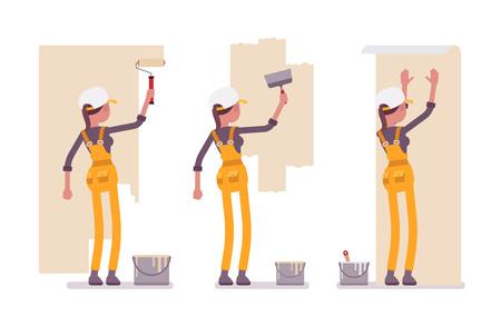 Sada pracovní dívky ve žluté celkově pracuje se stěnami
