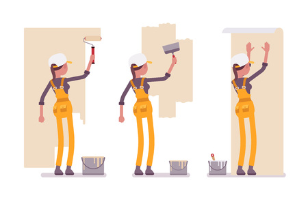 Set of female worker in yellow overall working with walls