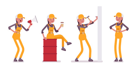Set of female worker in yellow overall with tools Illustration
