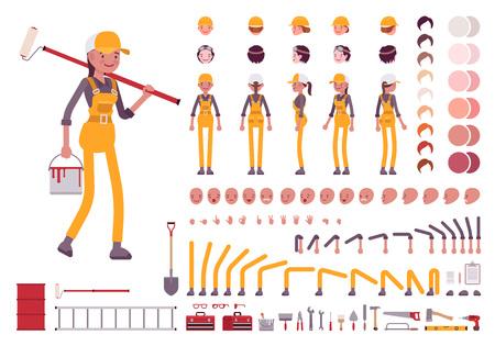 Weibliche Arbeiter Charakter Schöpfung gesetzt Vektorgrafik