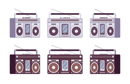 Boombox set in grey and black color Illustration